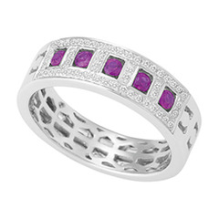 Micro Pave Diamond Dress Ring with Ruby