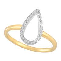 Grain Set Open Pear Diamond Ring