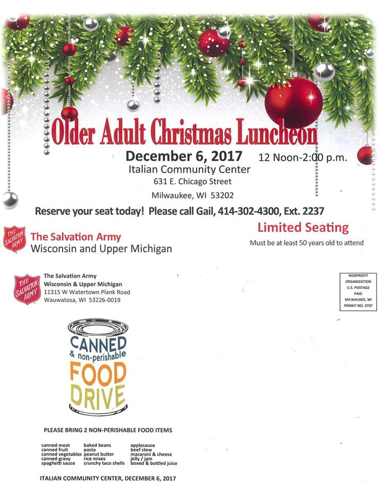 the salvation army to host christmas party and luncheon for 600 seniors wisconsin and upper michigan