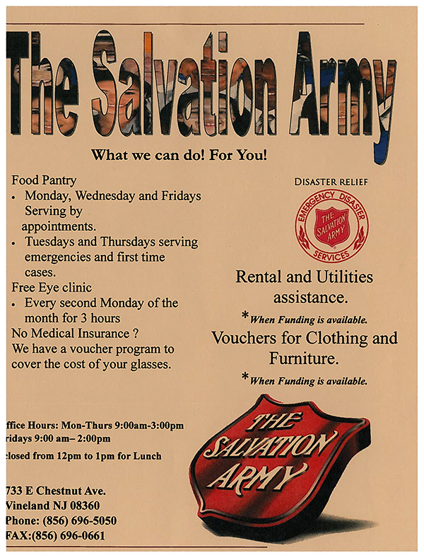 The Salvation Army Vineland Corps Programs
