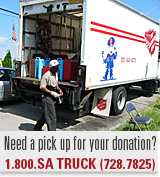 Need a pick up for your donation? Call 1-800-SATRUCK.