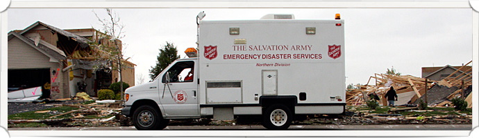 Salvation Army Disaster Service truck assisting at a disaster relief area