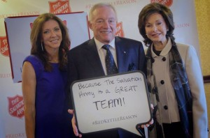 Charlotte Jones Anderson, Chairperson of The Salvation Army National Advisory Board, Jerry Jones, Owner of the Dallas Cowboys & Emeritus Member of The Salvation Army National Advisory Board, and Gene Jones, Dallas Civic & Philanthropic Leader and Member of The Salvation Army National Advisory Board