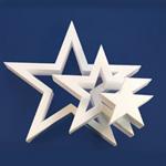 DIE-CUT STAR 3 STARS (12in x 1½ thick) QTY2