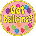 GOT BALLOONS - BUTTONS (3½ IN)  QTY 1