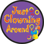 JUST CLOWING RND PRPL W/CLOWN - BUTTONS (3½ IN)  QTY 1