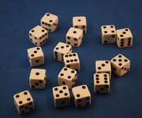 DICE 16MM WHITE 1/100  QTY 1