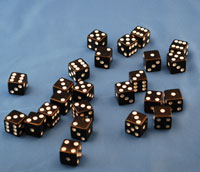 DICE 16MM BLACK 1/100  QTY 1