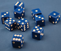 DICE 16MM BLUE 1/100  QTY 1