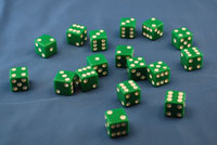 DICE 16MM GREEN 1/100  QTY 1