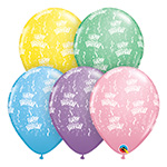 HAPPY BIRTHDAY AROUND PASTELS (11 INCH)  QTY 50