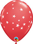 """CONTEMPO STARS RED WITH WHITE STARS (11"""") QTY 50"""