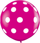 BIG POLKA DOTS WILD BERRY WITH WHITE DOTS (36IN) QTY 2