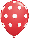 BIG POLKA DOTS- RED WITH WHITE DOTS 11in QTY 50