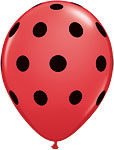 BIG POLKA DOTS- RED WITH BLACK DOTS 11in QTY 50