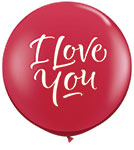 I LOVE YOU SCRIPT MODERN RED 3ft INCH