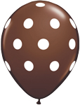 BIG POLKA DOTS CHOCOLATE  BROWN WITH WHITE DOTS (11IN) QTY 50