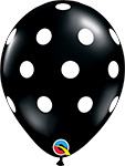 BIG POLKA DOTS ONYX BLACK WITH WHITE DOTS (11IN) QTY 50