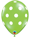 BIG POLKA DOTS LIME GREEN WITH WHITE DOTS (11IN) QTY 50