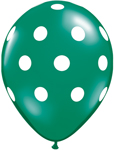 BIG POLKA DOTS ASSORTED (LIME GREEN, EMERALD GREEN, RUBY RED) WITH WHITE DOTS (11IN) QTY 50