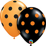 BIG POLKA DOTS ASSORTED ORANGE AND BLACK (11IN) QTY 50