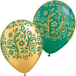 DAMASK POINSETTA METALLIC GOLD/PEARL EMERALD GREEN (11IN) QTY 50