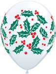 HOLLY AND BERRIES WHITE (11IN) QTY 50