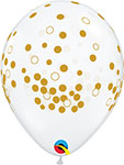 "CLEAR WITH GOLD CONFETTI DOTS (11"") QTY 50"