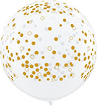 "CLEAR WITH GOLD CONFETTI DOTS (36"") QTY 2"
