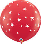 """CONTEMPO STARS RED WITH WHITE STARS (36"""") QTY 2"""