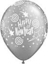 HAPPY NEW YEAR SWIRLING STARS SILVER  (11 INCH)  QTY 50
