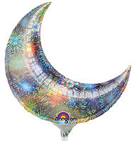 "35"" HOLOGRAPHIC FIREWORKS CRESCENT 35in QTY 3"