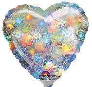 "18"" HOLOGRAPHIC FIREWORKS HEART 18in QTY 5"