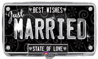 JUST MARRIED LICENSE PLATE - WEDDING (22in)  QTY 5