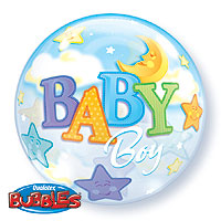 SINGLE BUBBLE BABY BOY MOON (22in) QTY 5