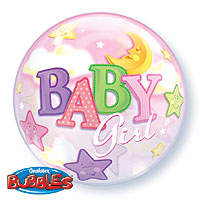 SINGLE BUBBLE BABY GIRL MOON (22in) QTY 5