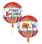 HAPPY BIRTHDAY STRIPES AND BURSTS STANDARD ORBZ 16 INCH