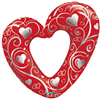 HEARTS AND FILIGREE RED 42 INCH QTY 5