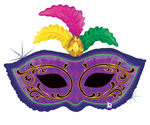 Mardi Gras Feather Mask Holographic ( 34in ) QTY 5