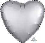 SATIN LUXE PLATINUM HEART (18IN) QTY 10