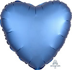 SATIN LUXE AZURE HEART (18IN) QTY 10