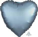 SATIN LUXE STEEL BLUE HEART (18IN) QTY 10