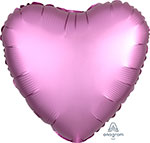 SATIN LUXE FLAMINGO HEART (18IN) QTY 10