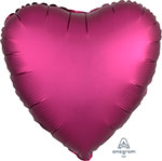 SATIN LUXE POMEGRANATE HEART (18IN) QTY 10