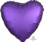 SATIN LUXE PURPLE ROYALE HEART (18IN) QTY 10