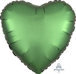 SATIN LUXE EMERALD HEART (18IN) QTY 10