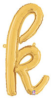 SCRIPT LETTER K GOLD (14IN) QTY 1