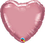 CHROME MAUVE HEART (18IN) QTY 5