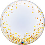 DECO BUBBLE GOLD CONFETTI DOTS  (24IN) QTY 5
