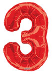 """NUMBER 3 RED (34"""") QTY 1"""